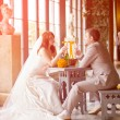 Bride and groom in the palace — Stock Photo #5786611
