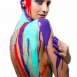 Brunette with colorful body painting — Stock Photo #5464845