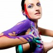 Beautiful woman with colorful body painting — 图库照片