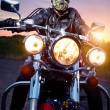 Biker on the motorbike - Stock Photo