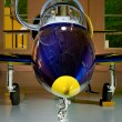 Jet airplane in the hangar — Stock Photo
