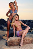 Two sexy blondes posing on the beach — Stock Photo
