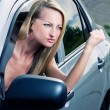 Angry blond driver — Stock Photo