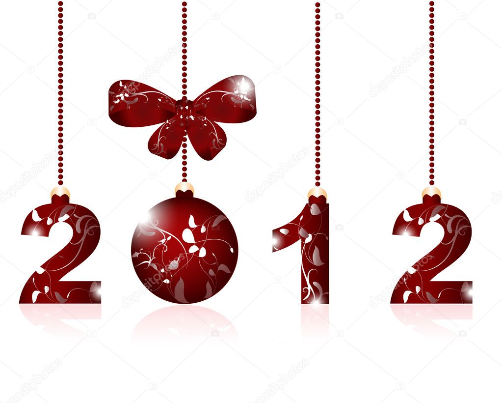 Merry Christmas and Happy New Year 2012  — Imagen vectorial #6378636