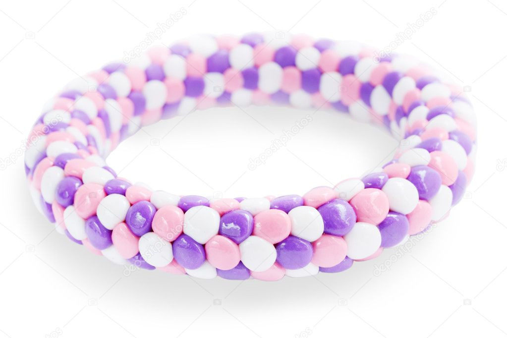 Plastic bracelet in the lilac tones on the white — Stock Photo #5957349