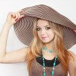 Woman in summer hat — Stock Photo #6112214