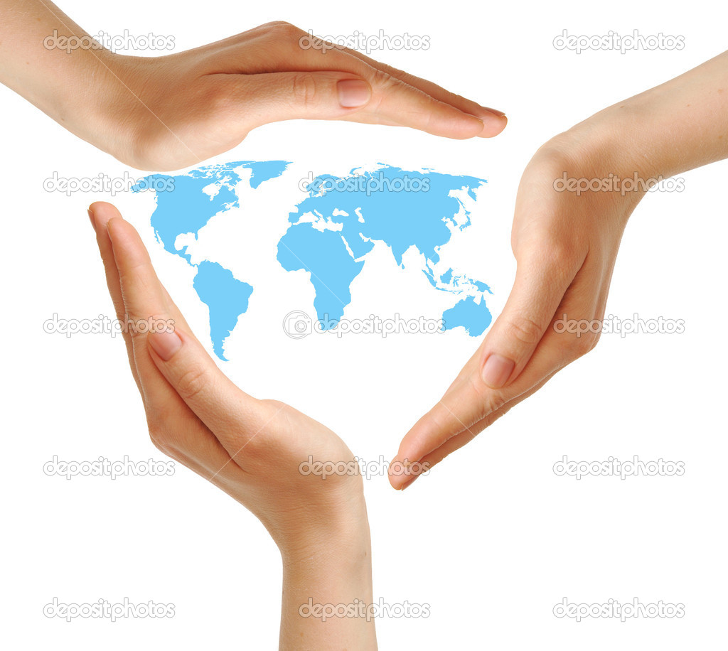 Female hands surrounding the world map on white  environment concept  — Stock Photo #5385855