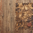Old paper with a wax seal on brown wood texture with natural pat — Stock Photo