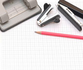 Stationery isolated on a work paper — Foto de Stock