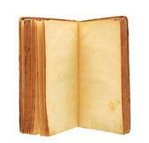 Un viejo libro con páginas en blanco de manchas amarillas — Foto de Stock
