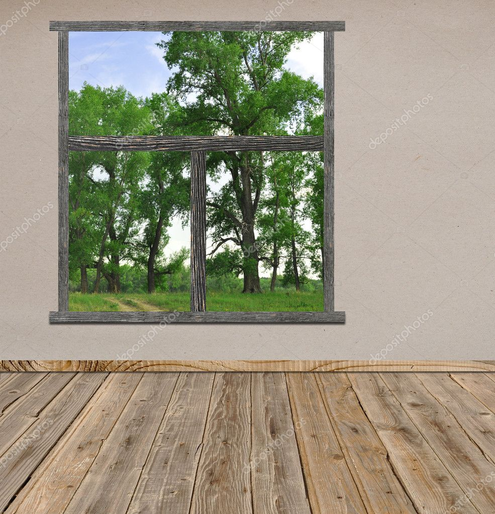 Empty room with open window overlook a beautiful landscape view  — Stock Photo #5572116