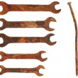 Set very old rusty wrenches and rusty nail, isolated on white ba — Stock Photo #5693789
