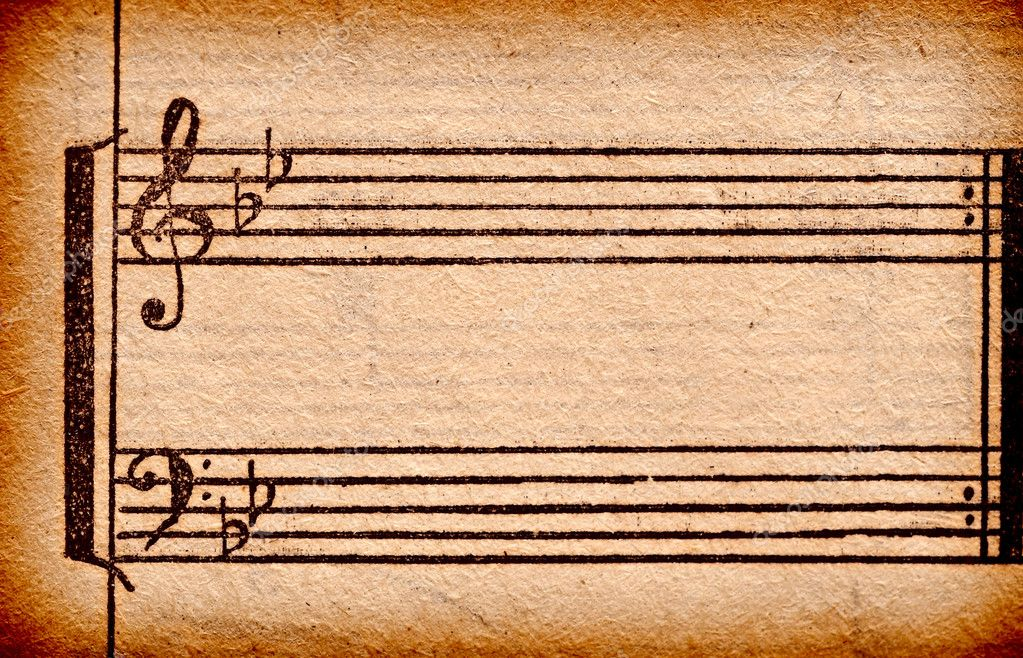 Music notes on old paper sheet, to use for the background — Stockfoto #5691447