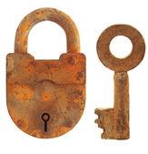 Vintage keys and padlock — Stock Photo