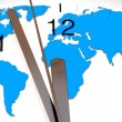 An image of a nice clock with world map — Foto Stock