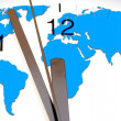 An image of a nice clock with world map - Stock Photo