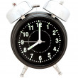 Black alarm clock isolated on white — 图库照片