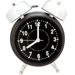 Black alarm clock isolated on white — Stock Photo