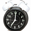 Black alarm clock isolated on white — Stock Photo