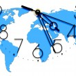 An image of a nice clock with world map — Stock Photo