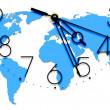 An image of a nice clock with world map — Foto de Stock