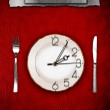 Menu. Dishware and clock. Concept restrictions in food — Stock Photo #6089792