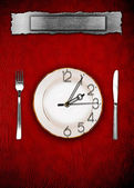Menu. Dishware and clock. Concept restrictions in food — Stock Photo