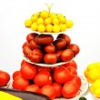 Organic yellow and red tomatoes - Foto Stock