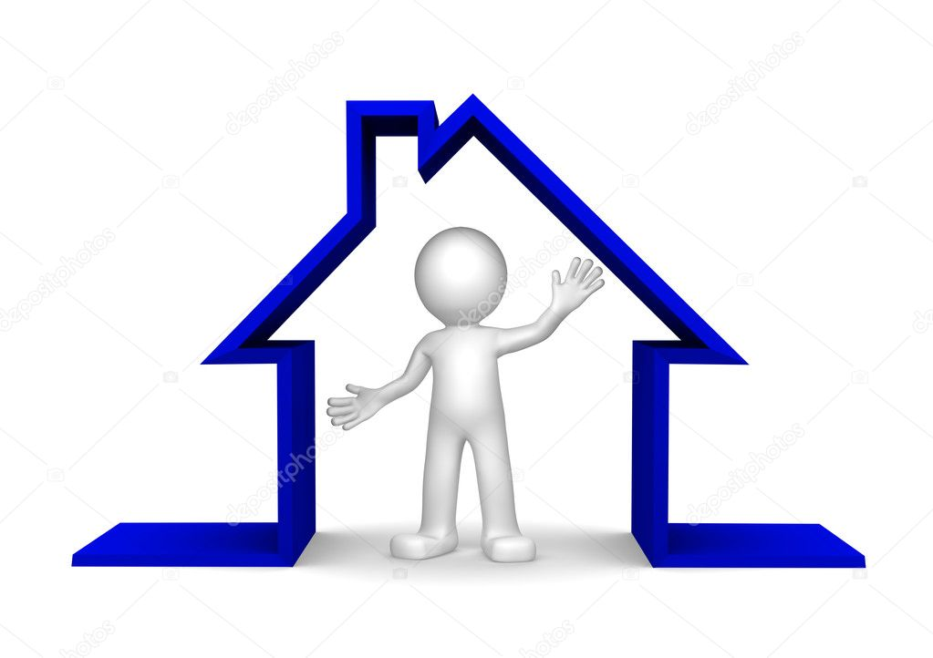 Happy 3d character inside house on white background  Lizenzfreies Foto #5409960