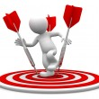 Stock Photo: 3d character standing on archery board.