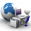 3d character Working on computer connectet to globe — Stock Photo