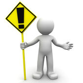3d character with yellow ALERT sign — Stock Photo