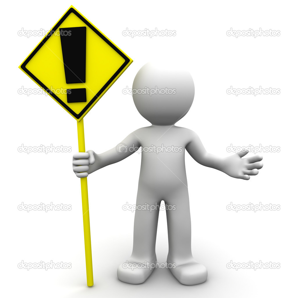 3d character with yellow ALERT sign on white background — Stock Photo #5410032