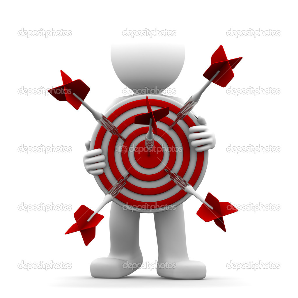 3d character holding a red archery target. Conceptual illustration — Foto Stock #5410044