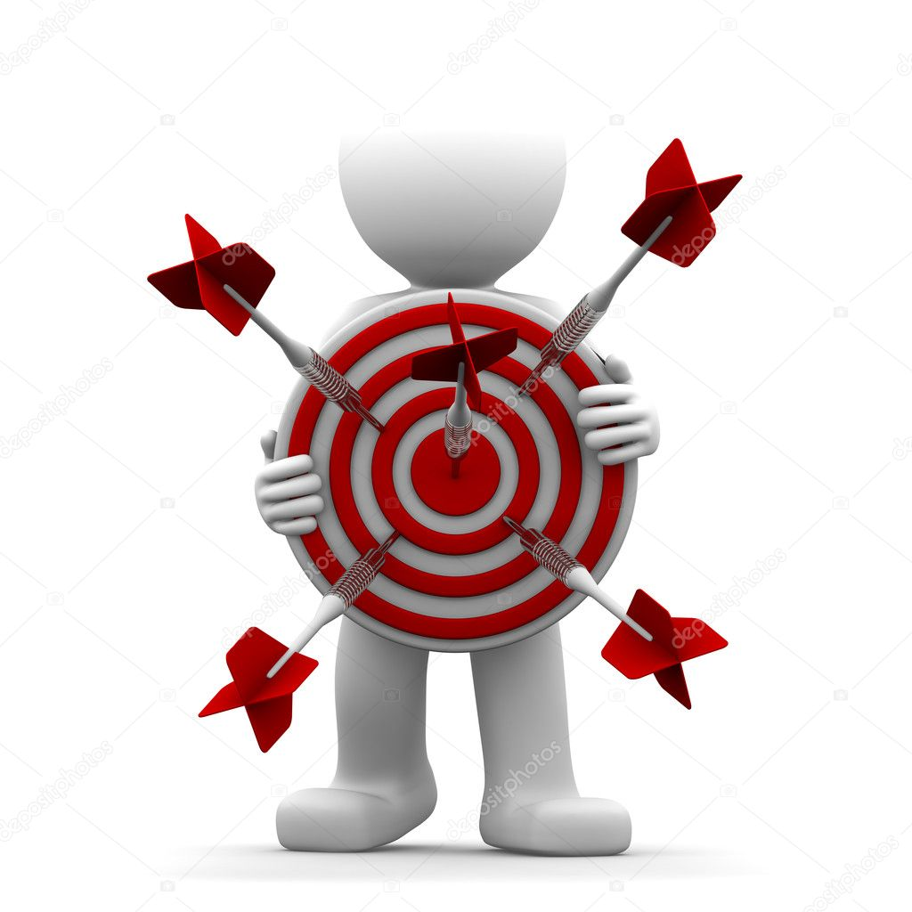 3d character holding a red archery target. Conceptual illustration — Stockfoto #5410044