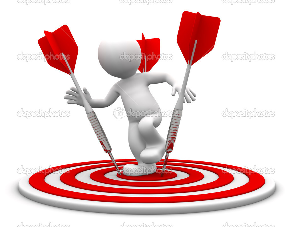 3d character standing on the archery board. Conceptual business illustration. Isolated on white  — Stock Photo #5410046