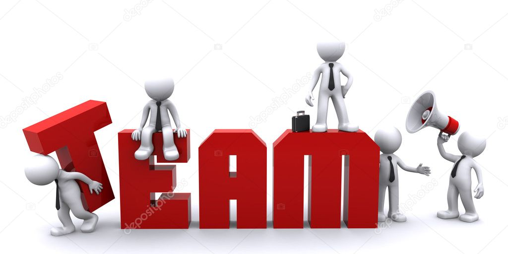 Teamwork. Conceptual business illustration. White background — Stockfoto #5410050