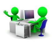 Team of two computer experts at workplace — Stock Photo