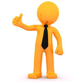 3d Businessman showing thumbs up — Stock Photo