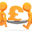 Medics carrying pound currency sign. Conceptual economic illustration. — Stock Photo