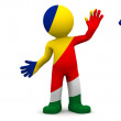 3d character textured with flag of Seychelles — Stock Photo