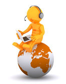 Support phone operator sitting on earth globe — Stock Photo