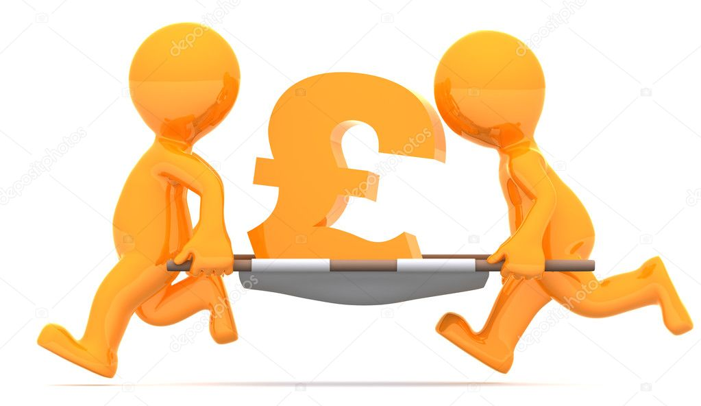 Medics carrying pound currency sign. Conceptual economic illustration. Isolated on white background — Stock Photo #5859296