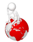 3d man sitting on Earth globe in a thoughtful pose — Stock Photo