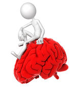 3d person sitting on red brain in a thoughtful pose — Stock Photo