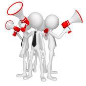 Groep van zakendoen met megafoon — Stockfoto