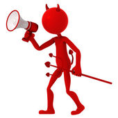 Devil agitate through megaphone — Stock Photo