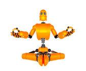 Orange robot in meditation pose — Stock Photo