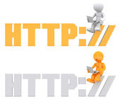3d character sitting on HTTP sign. — Stock Photo