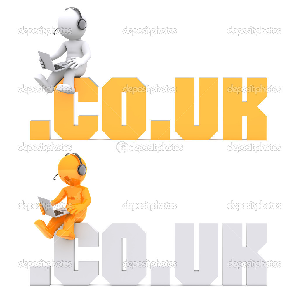 3d character sitting on .CO.UK domain sign. Isolated on white — Stock Photo #6653176
